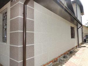 Отделка фасада мраморной крошкой