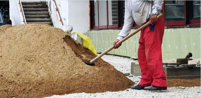 засыпка песка для отмостки