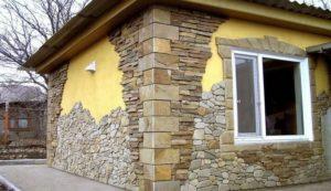 отделка сип дома камнем