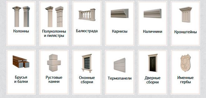 разнообразие фасадных элементов