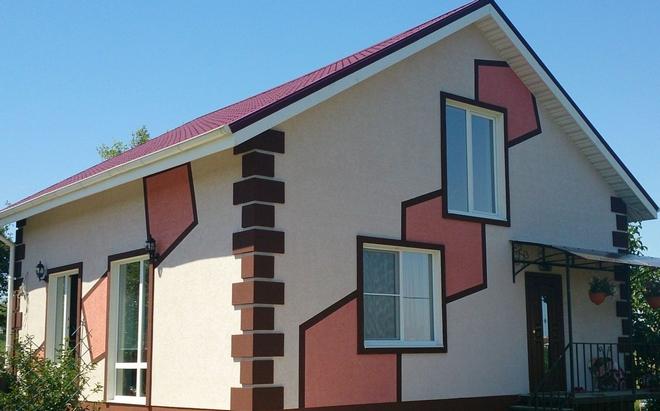 покраска фасада в два цвета