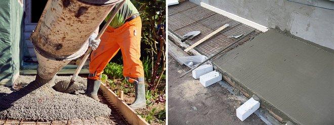 заливка бетона и его выравнивание